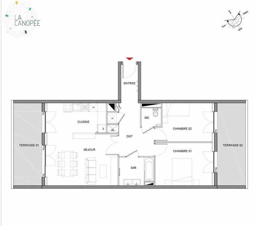 Plan A12, appartement neuf type T3 au 1er étage, orienté Sud faisant 67m² du programme neuf LA CANOPÉE à Amiens.