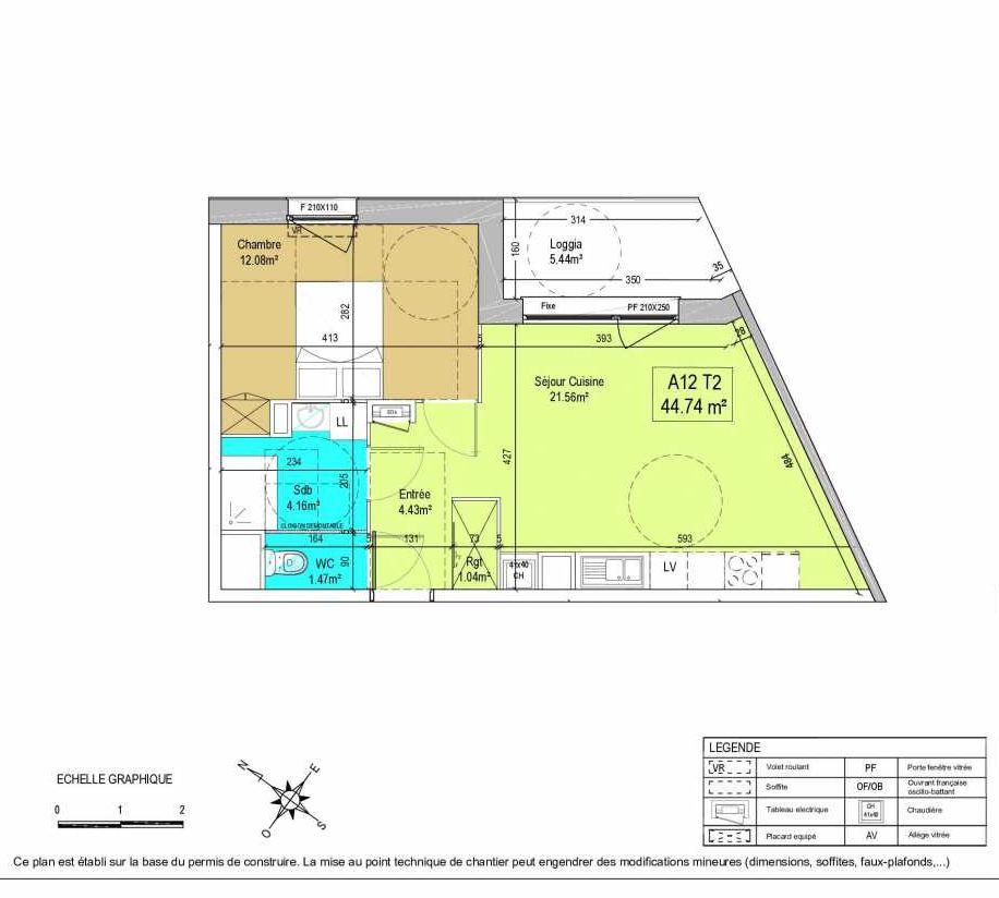 Plan A12, appartement neuf type T2 au 1er étage, orienté Est faisant 45m² du programme neuf LA CREATIVE à Tourcoing.