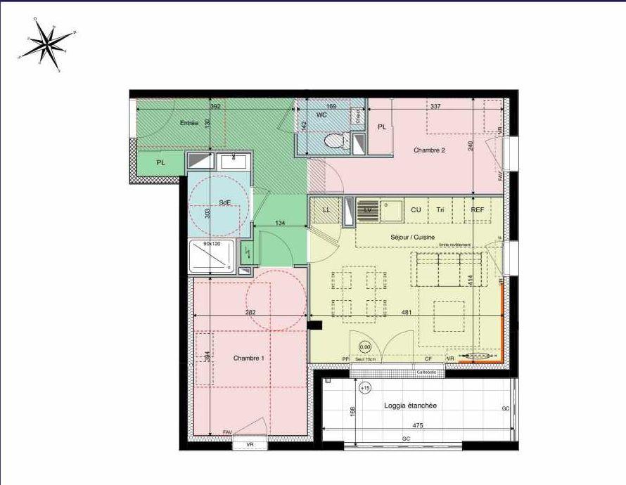 Plan A12, appartement neuf type T3 au 1er étage, orienté Sud faisant 57m² du programme neuf Les Hauts de Brimberne à Sautron.