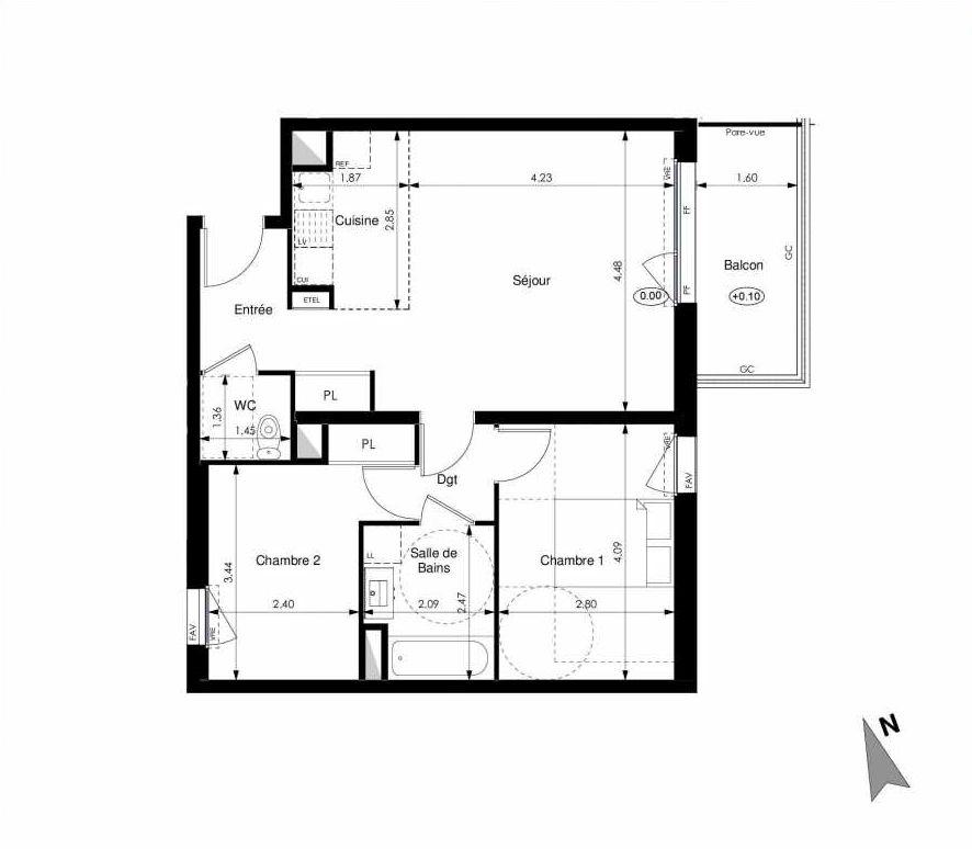 Plan A12, appartement neuf type T3 au 1er étage, orienté Est faisant 60m² du programme neuf Les Jardins d'Elise à Angers.