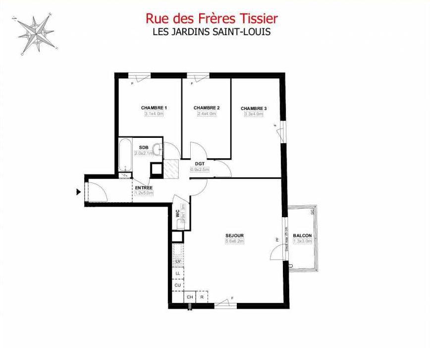 Plan A12, appartement neuf type T4 au 1er étage, orienté Sud faisant 78m² du programme neuf Les Jardins Saint-Louis à Carrières-sous-Poissy.