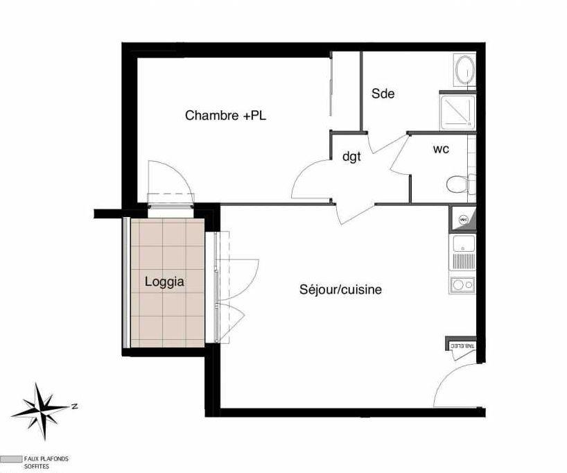 Plan A12, appartement neuf type T2 au 3ème étage, faisant 46m² du programme neuf Six-Fours République à Six-Fours-les-Plages.