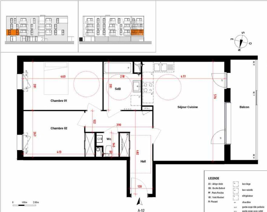 Plan A12, appartement neuf type T3 au 1er étage, orienté Ouest faisant 66m² du programme neuf Symbioz à Haubourdin.