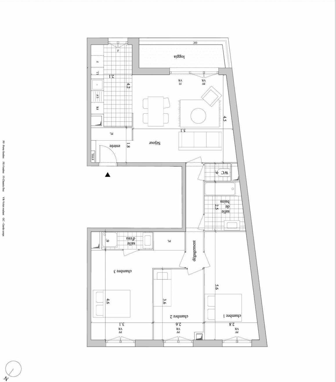 Plan A123, appartement neuf type T4 au 2ème étage, orienté Ouest faisant 88m² du programme neuf 14SUD - Pinel à Villejuif.