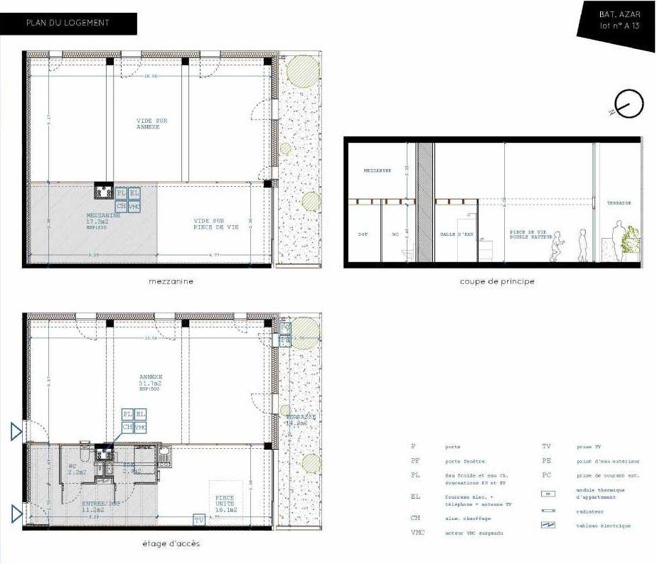 Plan A13, appartement neuf type T5 au 1er étage, orienté Sud faisant 32m² du programme neuf Brazza à Bordeaux.