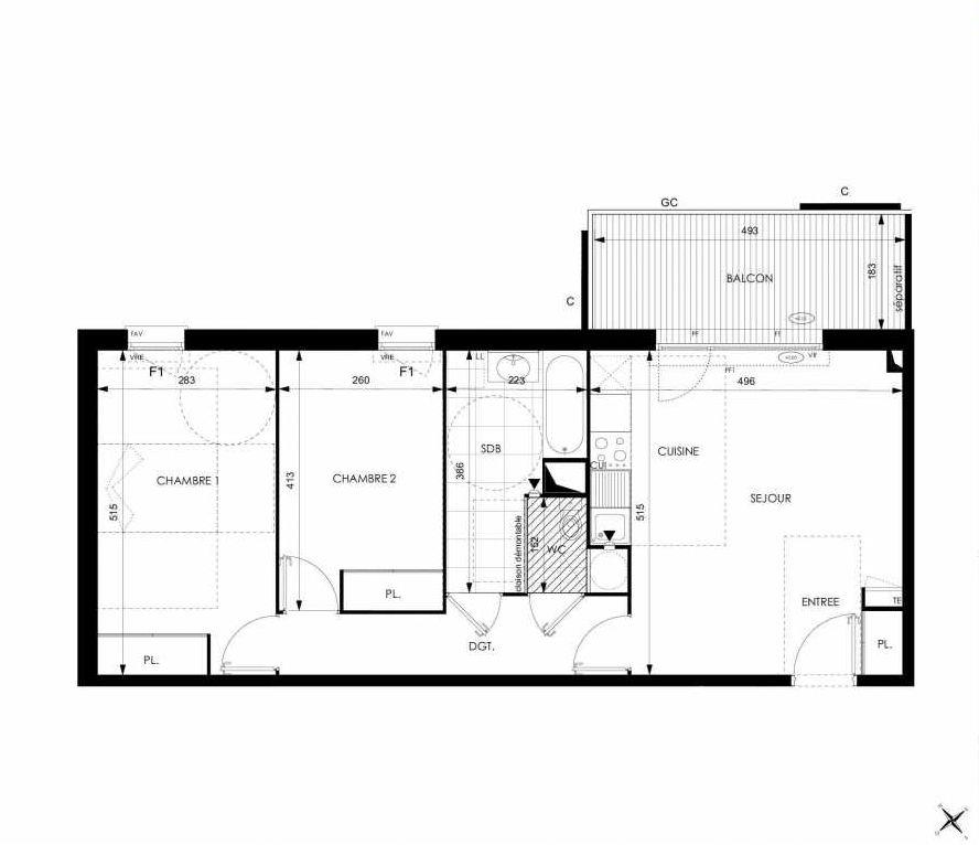 Plan A13, appartement neuf type T3 au 1er étage, orienté Ouest faisant 64m² du programme neuf Cosy à Toulouse.