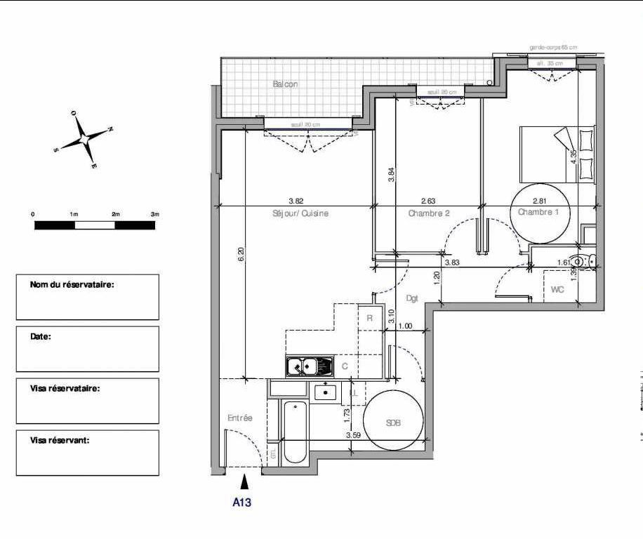 Plan A13, appartement neuf type T3 au 1er étage, orienté Nord faisant 64m² du programme neuf Domaine de la Roseraie à Chambourcy.