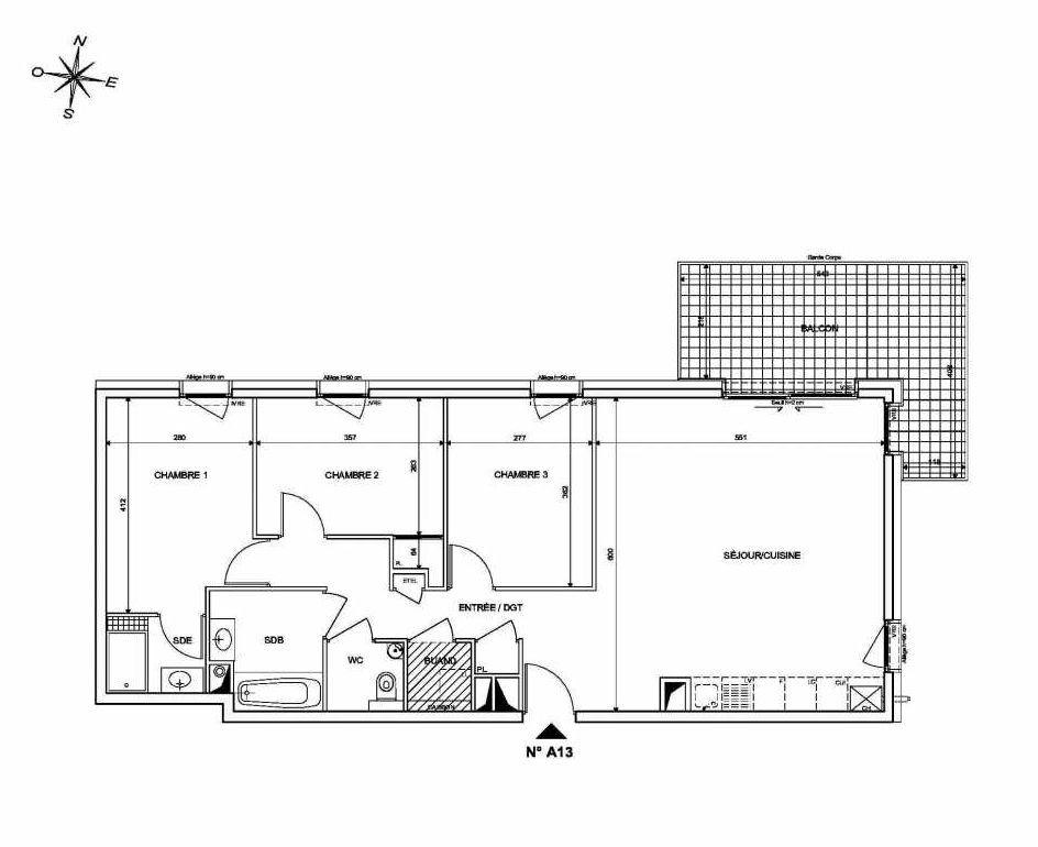 Plan A13, appartement neuf type T4 au 1er étage, orienté Nord faisant 84m² du programme neuf INFINITY à Publier.