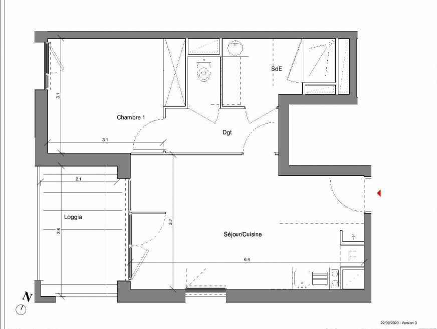 Plan A13, appartement neuf type T2 au 2ème étage, faisant 42m² du programme neuf Kubik Garden à Vénissieux.