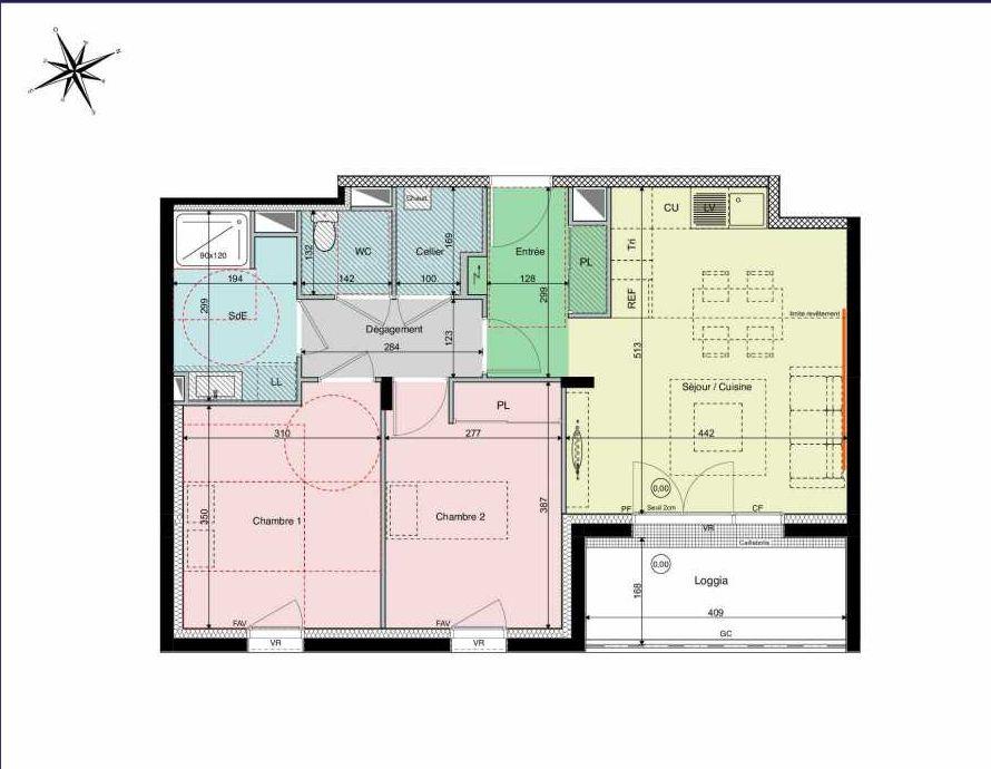 Plan A13, appartement neuf type T3 au 1er étage, orienté Sud faisant 60m² du programme neuf Les Hauts de Brimberne à Sautron.