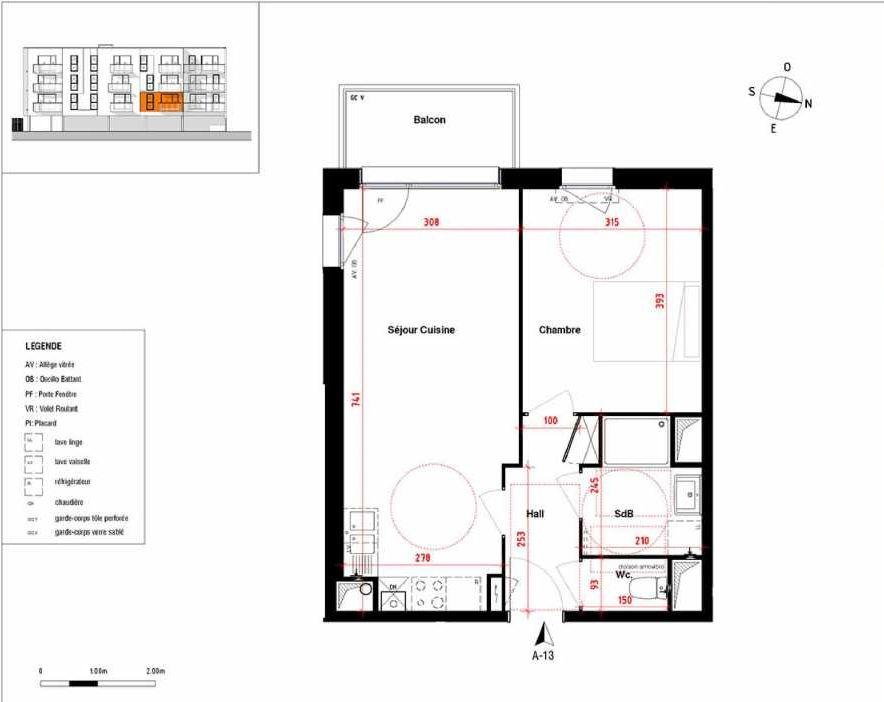 Plan A13, appartement neuf type T2 au 1er étage, orienté Sud faisant 44m² du programme neuf Symbioz à Haubourdin.