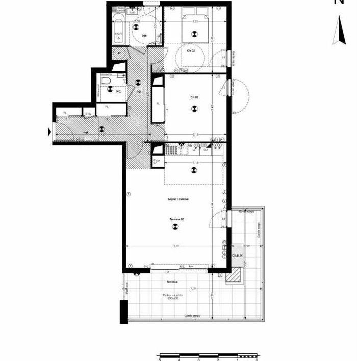 Plan A131, appartement neuf type T3 au 1er étage, orienté Nord faisant 78m² du programme neuf 27 PAUL CÉZANNE à Aix-en-Provence.
