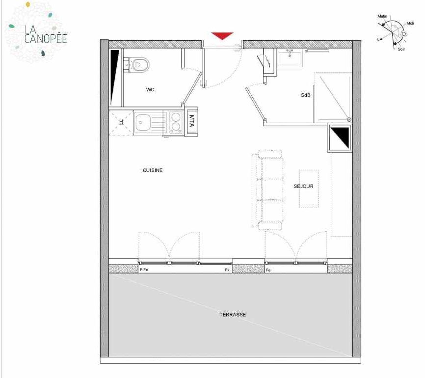 Plan A14 bis, appartement neuf type T1 au 1er étage, orienté Ouest faisant 27m² du programme neuf LA CANOPÉE à Amiens.