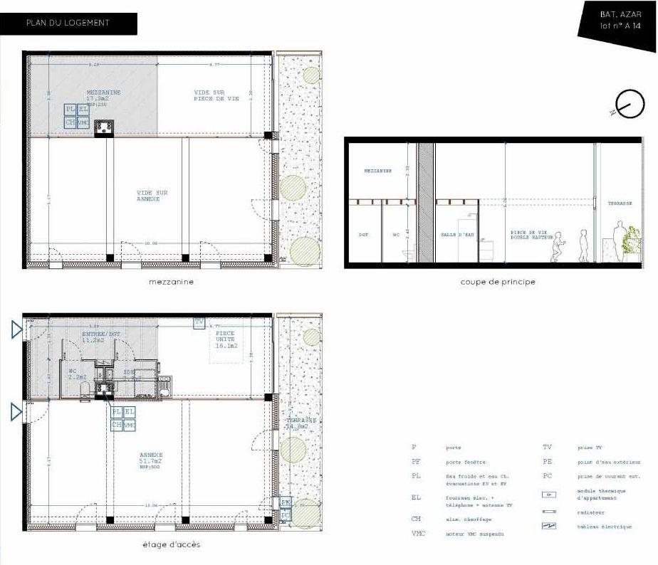 Plan A14, appartement neuf type T5 au 1er étage, orienté Sud faisant 32m² du programme neuf Brazza à Bordeaux.