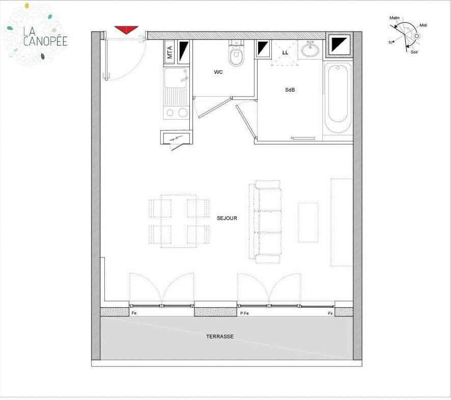 Plan A14, appartement neuf type T1 au 1er étage, orienté Est faisant 33m² du programme neuf La Canopée à Amiens.