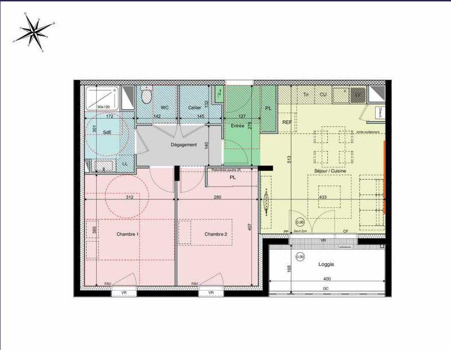 Plan A14, appartement neuf type T3 au 1er étage, orienté Sud faisant 61m² du programme neuf Les Hauts de Brimberne à Sautron.