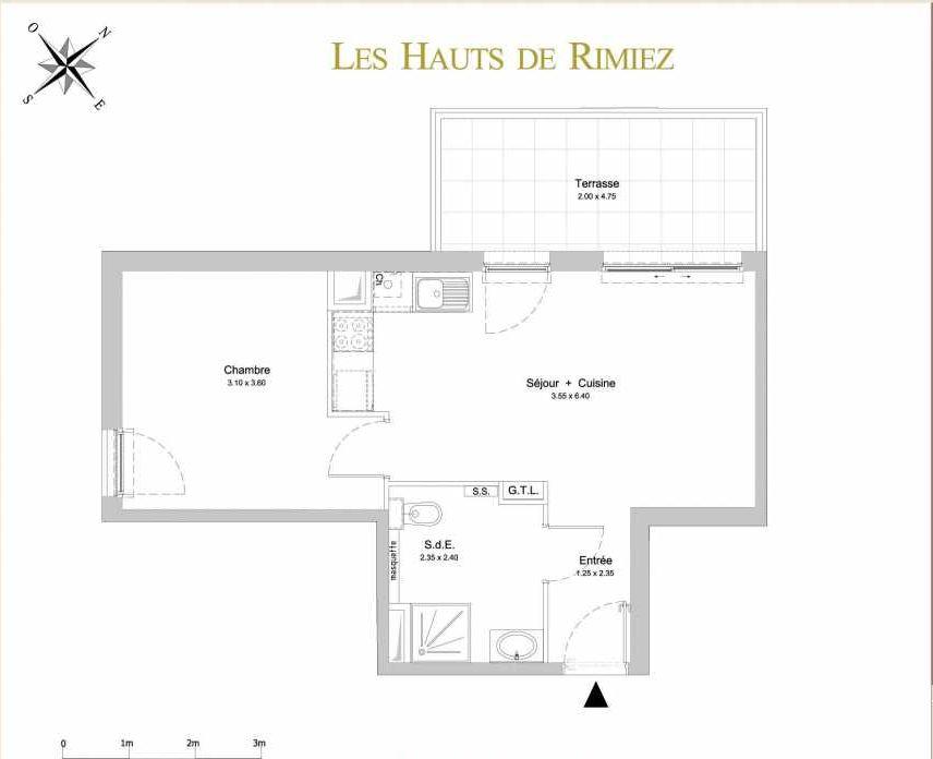 Plan A14, appartement neuf type T2 au 1er étage, orienté Sud faisant 42m² du programme neuf Les Hauts de Rimiez à Nice.