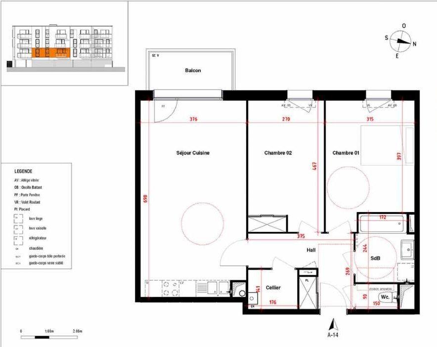 Plan A14, appartement neuf type T3 au 1er étage, orienté Ouest faisant 67m² du programme neuf Symbioz à Haubourdin.