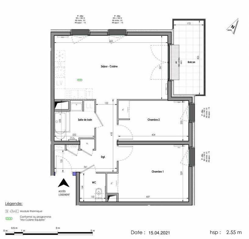 Plan A142, appartement neuf type T3 au 4ème étage, orienté Est faisant 63m² du programme neuf LES FABRIKS DE MAI à Clermont-Ferrand.