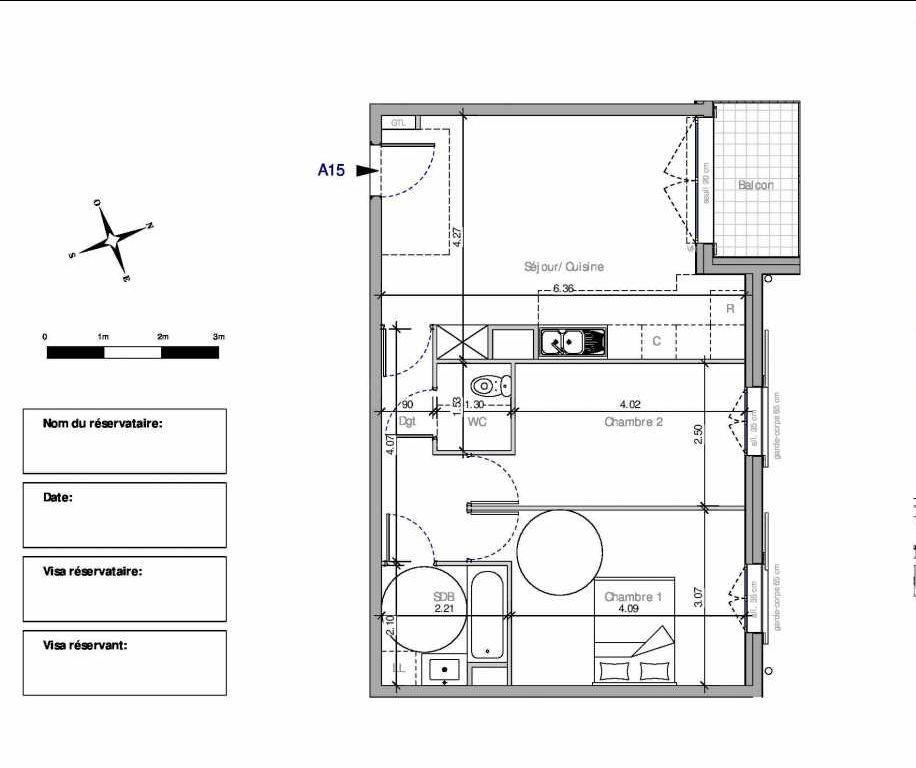 Plan A15, appartement neuf type T3 au 1er étage, orienté Nord faisant 59m² du programme neuf Domaine de la Roseraie à Chambourcy.