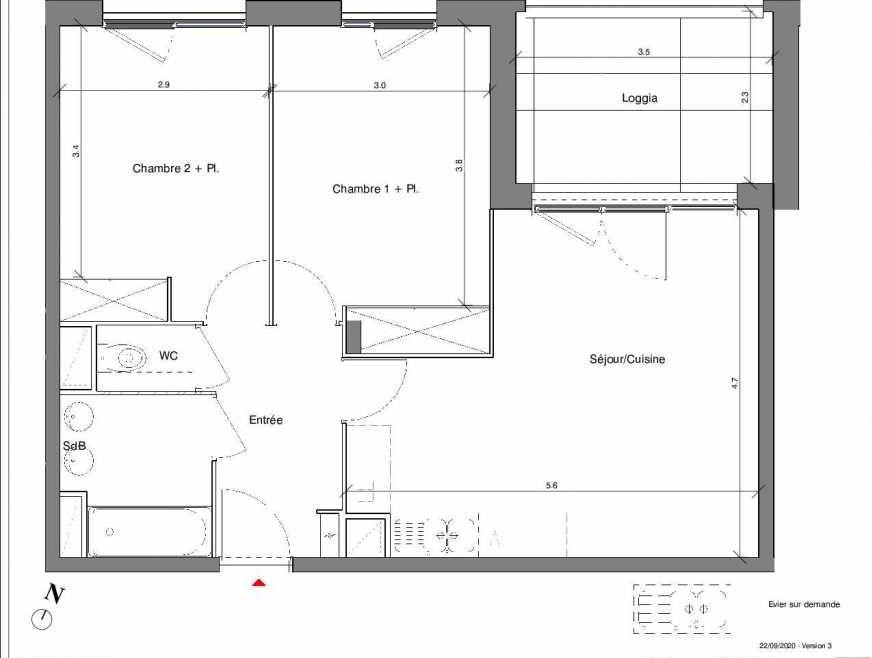 Plan A15, appartement neuf type T3 au 2ème étage, faisant 58m² du programme neuf Kubik Garden à Vénissieux.