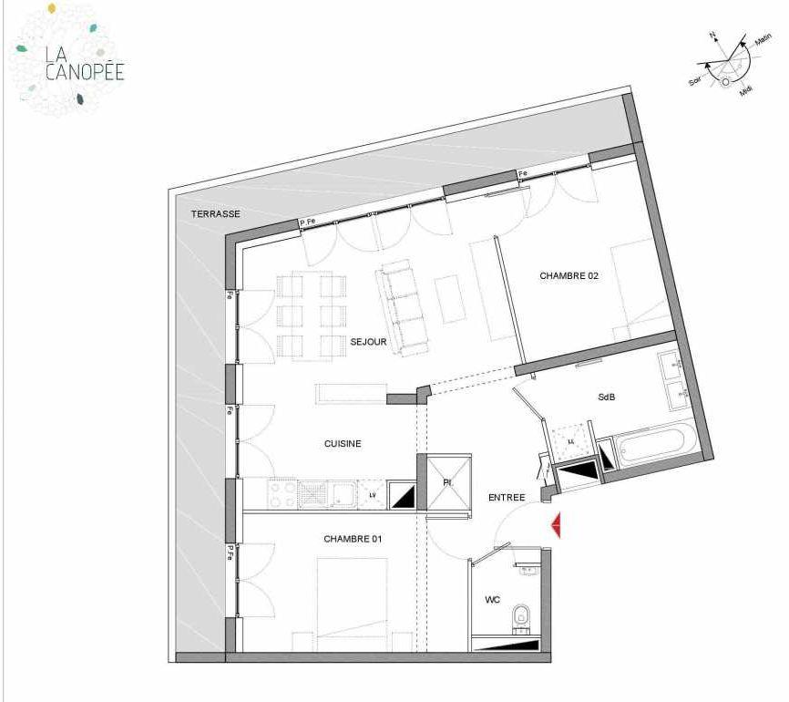 Plan A15, appartement neuf type T3 au 1er étage, orienté Ouest faisant 64m² du programme neuf LA CANOPÉE à Amiens.