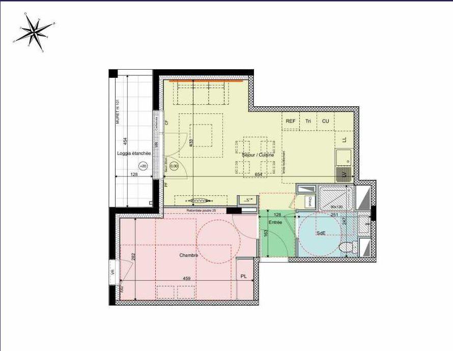 Plan A15, appartement neuf type T2 au 1er étage, orienté Sud faisant 44m² du programme neuf Les Hauts de Brimberne à Sautron.