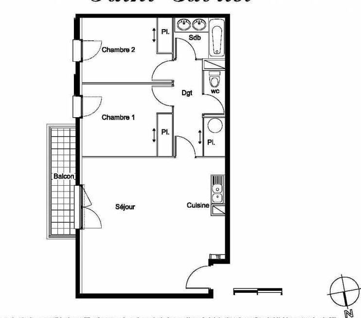 Plan A15, appartement neuf type T3 au 2ème étage, faisant 65m² du programme neuf Les Hauts de St Gabriel 1 à Marseille.
