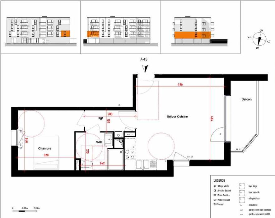 Plan A15, appartement neuf type T2 au 1er étage, orienté Ouest faisant 45m² du programme neuf Symbioz à Haubourdin.
