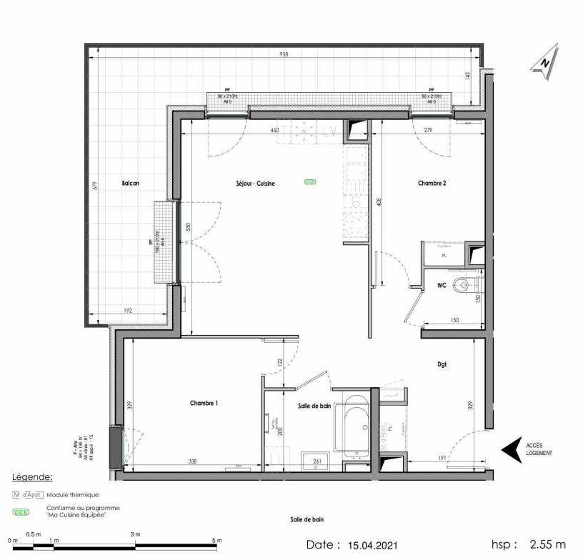 Plan A151, appartement neuf type T3 au 5ème étage, orienté Nord faisant 66m² du programme neuf LES FABRIKS DE MAI à Clermont-Ferrand.