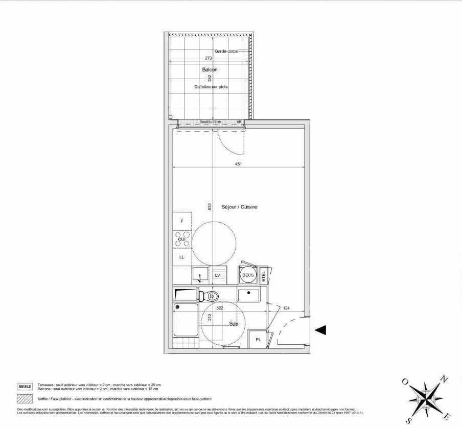 Plan A16, appartement neuf type T1 au 1er étage, orienté Ouest faisant 33m² du programme neuf L'INATTENDU à Morangis.