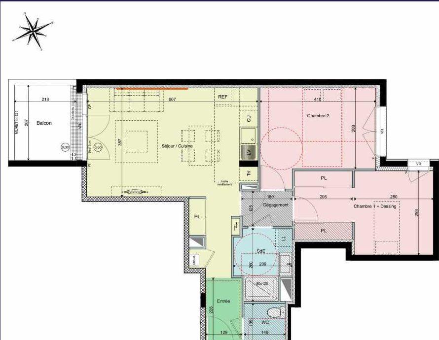 Plan A16, appartement neuf type T3 au 1er étage, orienté Sud faisant 65m² du programme neuf Les Hauts de Brimberne à Sautron.