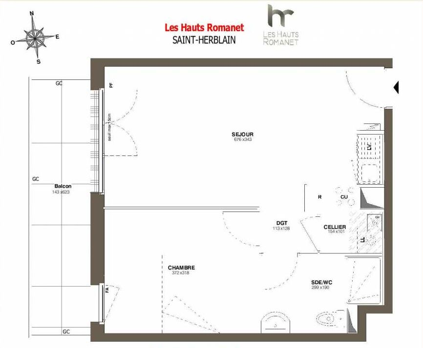 Plan A16, appartement neuf type T2 au 1er étage, orienté Sud faisant 42m² du programme neuf Les Hauts Romanet à Saint-Herblain.