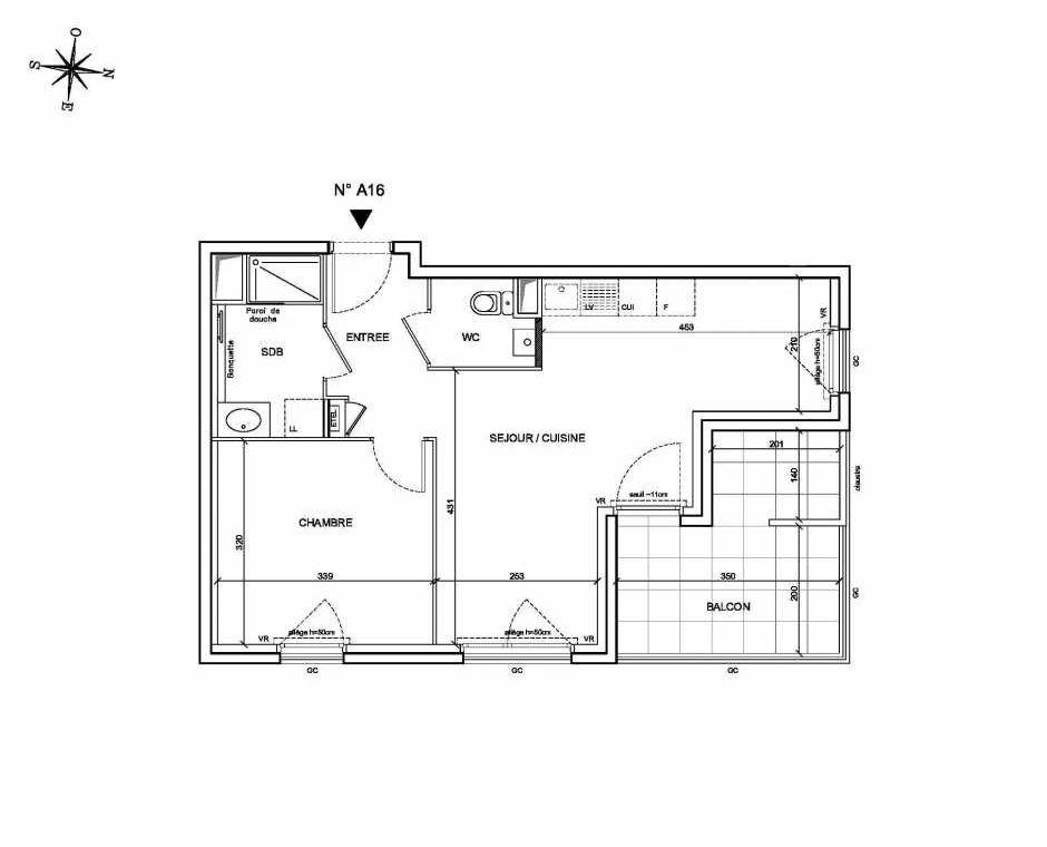 Plan A16, appartement neuf type T2 au 1er étage, faisant 44m² du programme neuf Les Levants à Brignais.