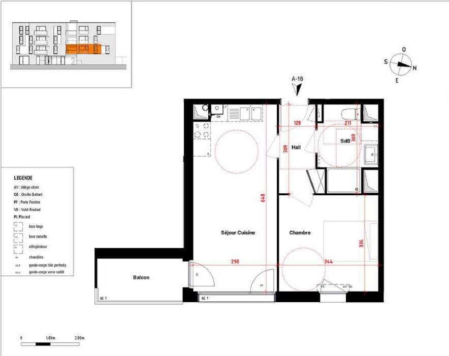 Plan A16, appartement neuf type T2 au 1er étage, orienté Est faisant 39m² du programme neuf Symbioz à Haubourdin.