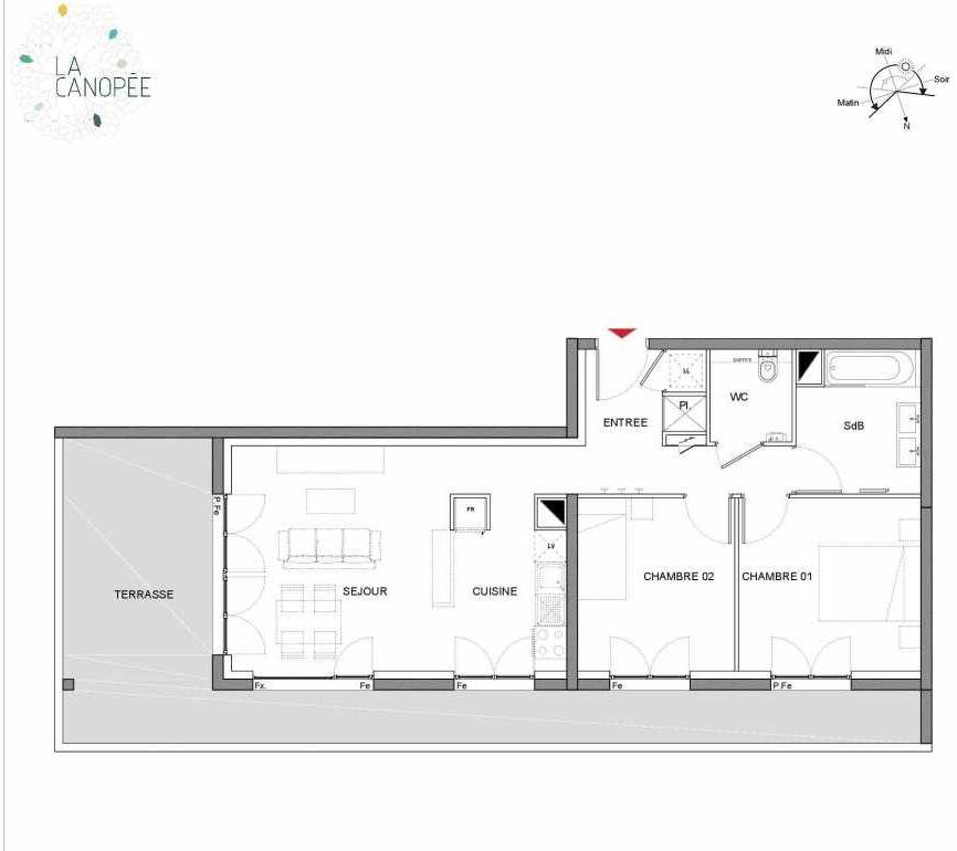 Plan A17, appartement neuf type T3 au 1er étage, orienté Nord faisant 62m² du programme neuf LA CANOPÉE à Amiens.