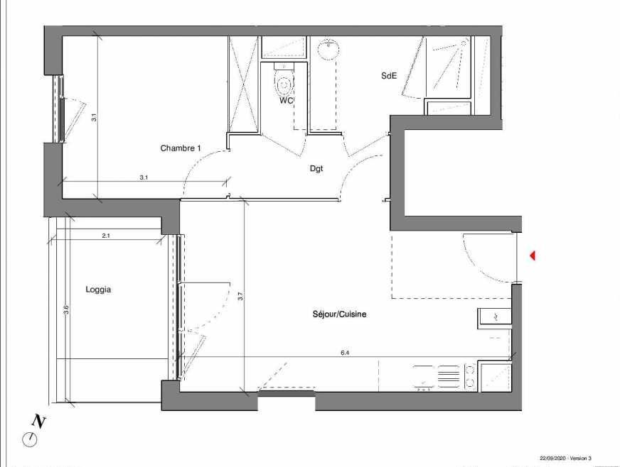 Plan A18, appartement neuf type T2 au 3ème étage, faisant 42m² du programme neuf Kubik Garden à Vénissieux.