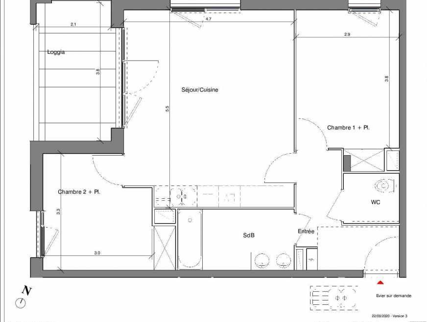 Plan A19, appartement neuf type T3 au 3ème étage, faisant 61m² du programme neuf Kubik Garden à Vénissieux.