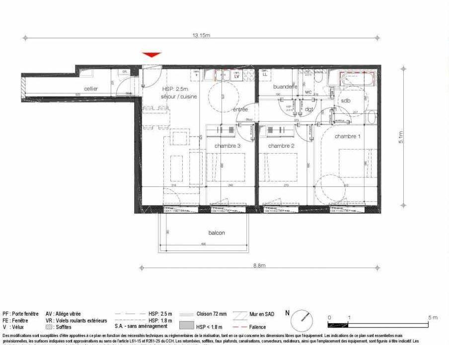 Plan A1C63, appartement neuf type T3 au 6ème étage, orienté Nord faisant 82m² du programme neuf Rivéo Cosmopolitain à Bordeaux.