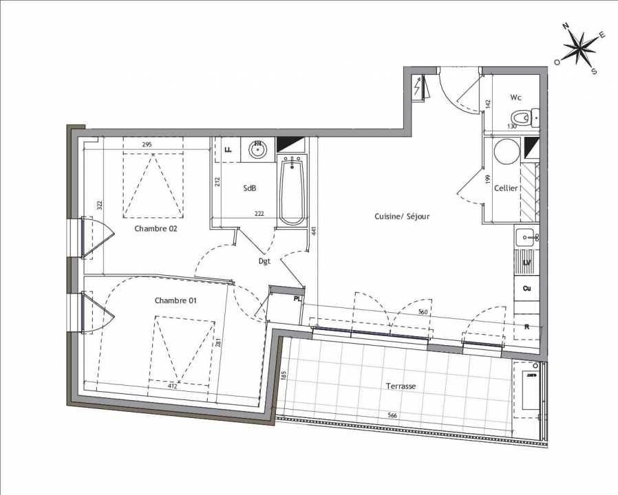 Plan A2-02, appartement neuf type T3 au Rez de chaussée, orienté Sud faisant 58m² du programme neuf Soléa à Vendargues.