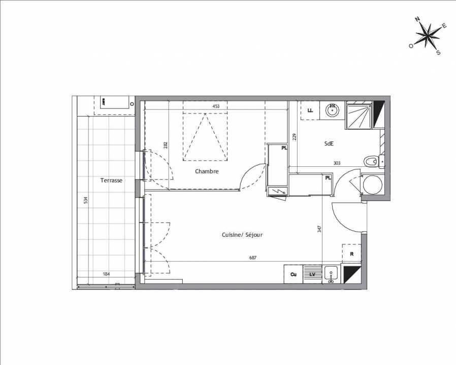 Plan A2-04, appartement neuf type T2 au Rez de chaussée, orienté Sud faisant 41m² du programme neuf Soléa à Vendargues.