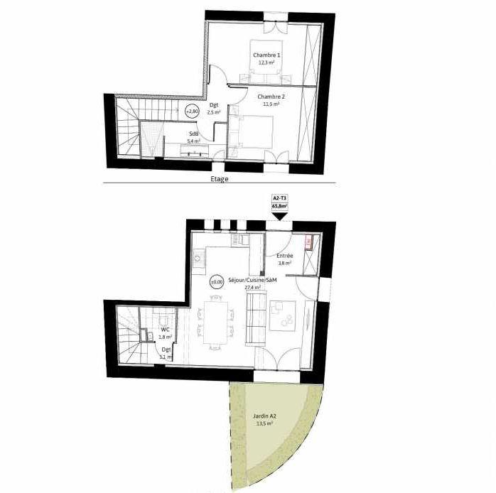 Plan A2, appartement neuf, faisant 66m² du programme neuf LE VIEUX TILLEUL à La Tour-de-Salvagny.