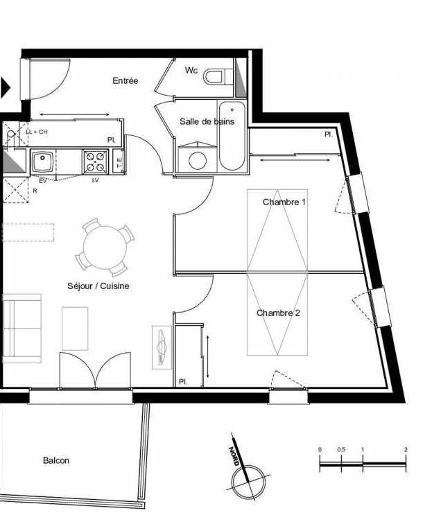 Plan A2.01, appartement neuf type T3 au 2ème étage, faisant 56m² du programme neuf Résidence L'Azuria à Toulouse.