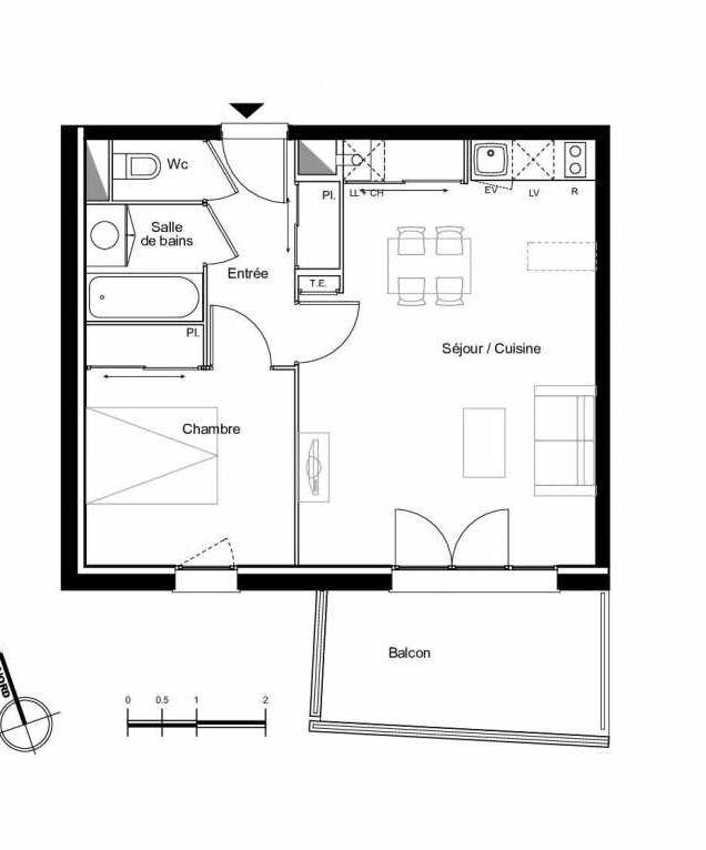 Plan A2.02, appartement neuf type T2 au 2ème étage, faisant 44m² du programme neuf Résidence L'Azuria à Toulouse.