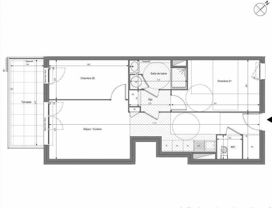 Plan A201, appartement neuf type T3 au 2ème étage, orienté Sud faisant 60m² du programme neuf Impulsion à Marseille.