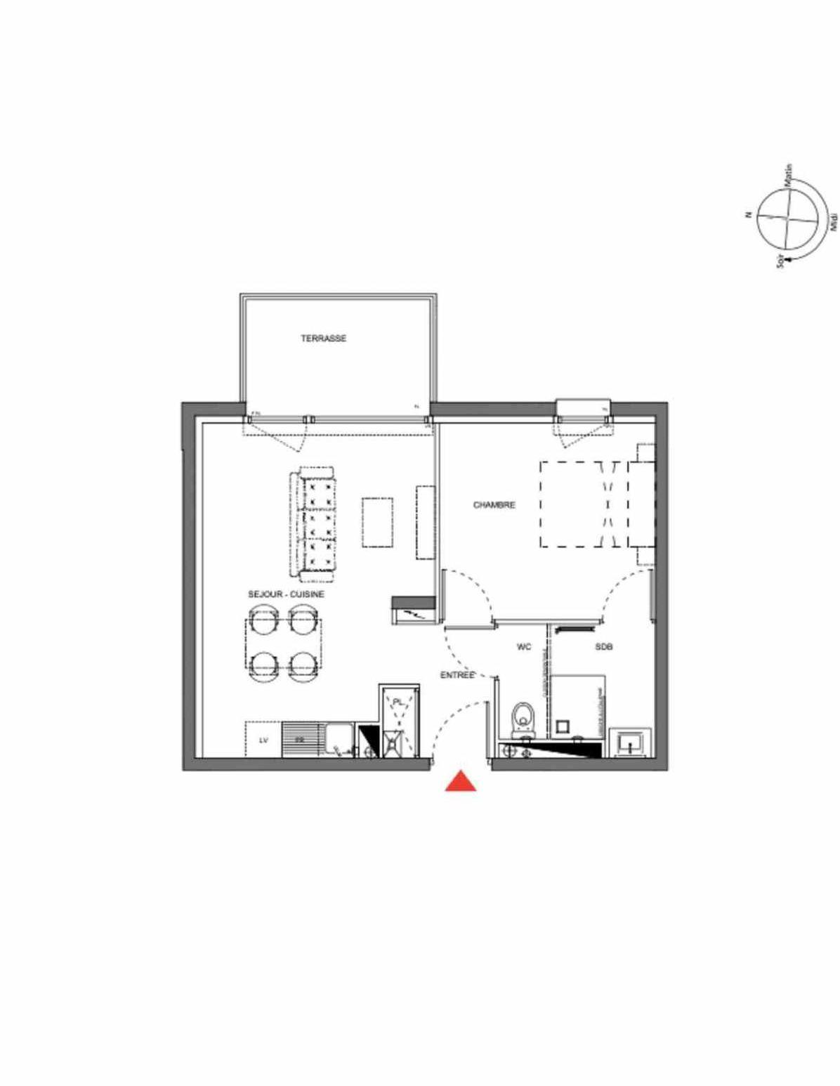 Plan A201, appartement neuf type T2 au 2ème étage, orienté Est faisant 39m² du programme neuf Les Demeures d'Henriville à Amiens.
