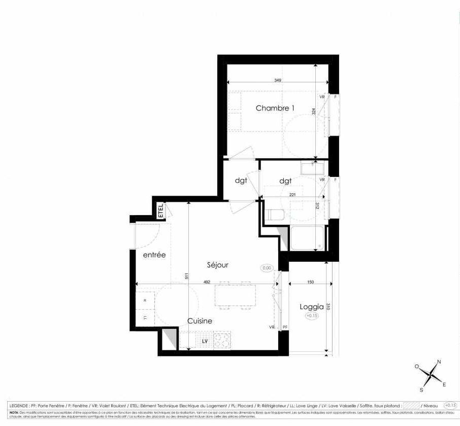 Plan A201, appartement neuf type T2 au 2ème étage, faisant 42m² du programme neuf Les Jardins d'Arc à Amiens.