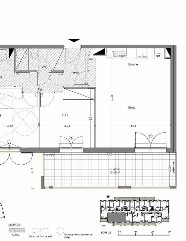Plan A201, appartement neuf type T3 au 2ème étage, orienté Sud faisant 63m² du programme neuf Loderi à Bormes-les-Mimosas.