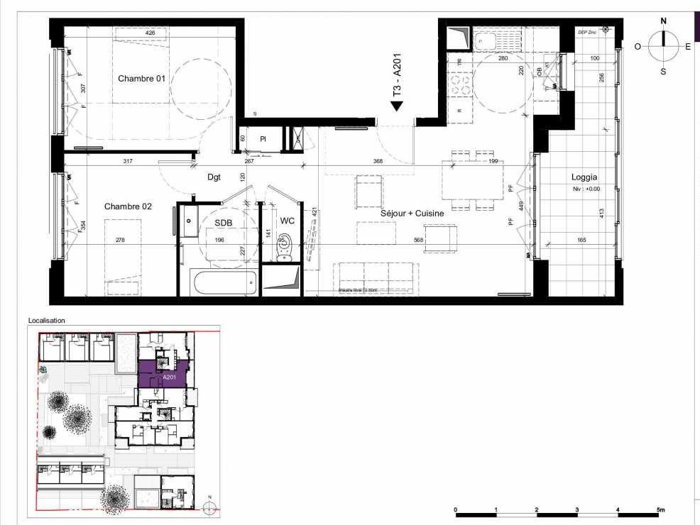 Plan A201, appartement neuf type T3 au 2ème étage, orienté Est faisant 63m² du programme neuf SESAME à Rennes.