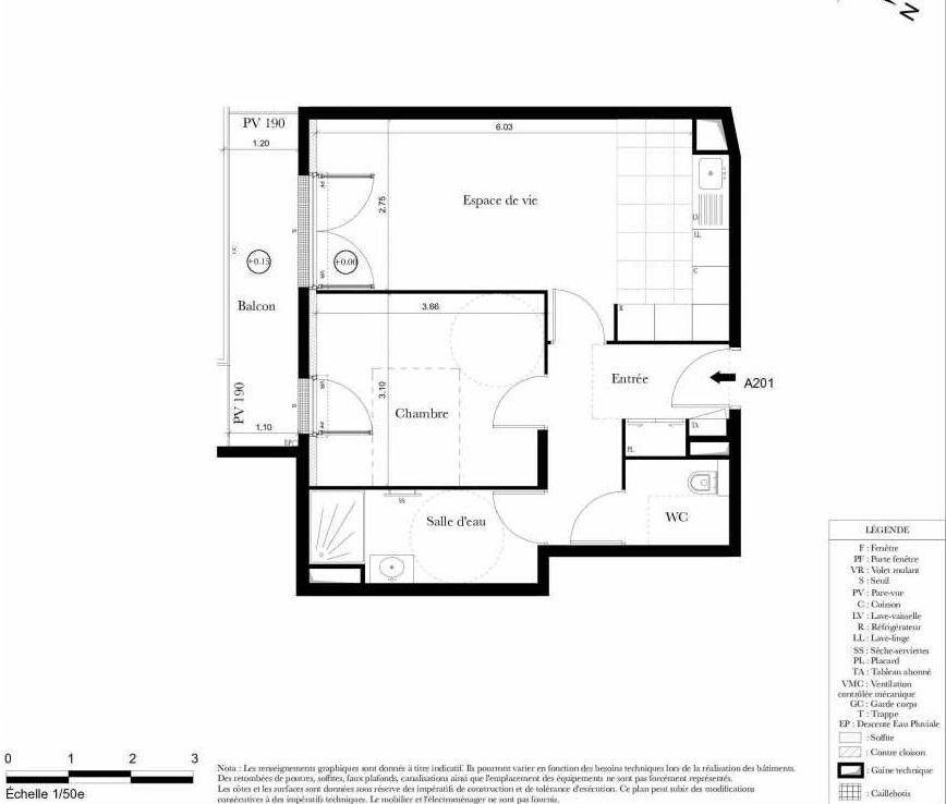 Plan A201, appartement neuf type T2 au 2ème étage, orienté Sud faisant 46m² du programme neuf Symbiose à Bezons.